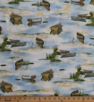 Cotton Boats Canoes Water River Lake Stream Hills Trees Scenic Nature Tranquility Cotton Fabric Print by the Yard (1649-26391-B)