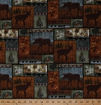Cotton Northwoods Animals Deer Moose Bears Blocks Mountain Pines Lodge Cabin Nature Wildlife Cotton Fabric Print by the Yard (AL-3160-6C-1MULTI)