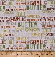 Cotton Cooking Spices Ingredients Names Words Kitchen Culinary Toss and Serve White Cotton Fabric Print by the Yard (06416-09)