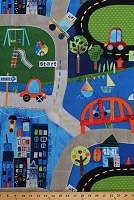 Cotton Cars Taxi Skyscrapers City Roads Lakes Boats Bridges Roadway Toy Cars Playmat-Look Kids On Track Cotton Fabric Print by the Yard (otra-00351-mux)