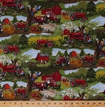 Cotton McCormick Farmall Tractors Sunflowers Cows Barns Livestock Hay Bales Chickens Country Farming Landscape Scenic Farmstead Scene Farms Cotton Fabric Print by the Yard (10176)