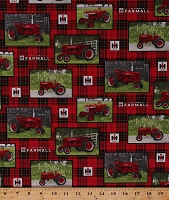 (Temporarily Out of Stock - Due back in Approx Early Nov 2020 - Join Waiting List) Cotton McCormick Farmall Tractors Logo Farming Farm Country Fences Farmer on Plaid Red Black Cotton Fabric Print by the Yard (10175)