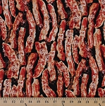 Cotton Bacon Meats Foods Cotton Fabric Print by the Yard (2603T-5N-c3997-bacon)