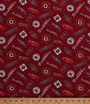 (Temporarily Out of Stock - Due back in Approx Early Nov 2020 - Join Waiting List) Cotton McCormick Farmall Logos International Harvester Farming Farms Farmer Country Red Cotton Fabric Print by the Yard (10177)