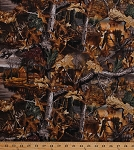 Cotton Camouflage Realtree Advantage Timber Deer Woods Cabin Lakeside Sunset Scene Leaves Leaf Landscape Camo Cotton Fabric Print by the Yard (10165)