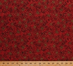 Cotton Red Poinsettias Poinsettia Christmas Flowers Floral Blossoms Blooms Winter Holidays Festive Packed Poinsettias Gold Metallic Shimmer Cotton Fabric Print by the Yard (12372-red-dr)