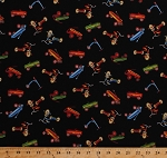 Cotton Play Wagons Bikes Scooters Tricycles Trikes Kids Children's Riding Toys on Black Wee Play  Multi-Colored  Cotton Fabric Print by the Yard (26699)