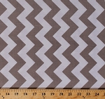 Cotton Riley Blake White and Taupe Medium Chevron Chevrons Cotton Fabric Print by the Yard (C320-40)