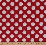 Cotton Bigg Dott Cott Large White Polka Dots on Red Cotton Fabric Print by the Yard (9072m-7m-red)