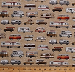Cotton Campers Trailers RV's Vans Vehicles Camping Travel Road Trip Vacation Parks and Recreation Cream Cotton Fabric Print by the Yard (3922-33)