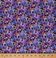 Cotton Pansies Pansy Flowers Floral Garden Spring Purple Cotton Fabric Print by the Yard (561PURPLE)