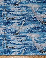 Cotton Sailboats Boats Sailing on Water Ocean Lake Seagulls Birds Wind and Waves Blue Nautical Cotton Fabric Print by the Yard (1090-83038-414)