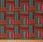 Cotton Books Stacked Old Books Stacks Bookshelf Shelves Bookcase Librarian Library Bookstore Study Reading Readers Bookworms Bookshop Red Brown Blue Green Cotton Fabric Print by the Yard (8726-085red)