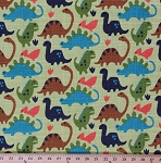 Cotton Old Friends Dinosaurs Dinos T-Rex Animals Kids Green Cotton Fabric Print by the Yard (CX6698-KRYP-D)