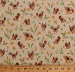 Cotton Chickens Roosters Chicks Chicken Feed Wheat Flowers Barnyard Fowl Farm Animals Birds Country Days Cream Cotton Fabric Print by the Yard (4708-26618-mul1)