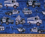 Cotton Police Vehicles Cars Vans Helicopters Motorcycles Law Enforcement Officers Policemen Cops Words Justice Order 911 Protect & Serve Blue Transportation Cotton Fabric Print by Yard (1649-26127-B)