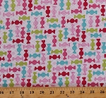 Cotton Candy Wrapped Hard Candies Sweets Confections Confectionery Pink White Grid Diamonds Cupcake Cafe Cotton Fabric Print by the Yard (3896-22)