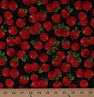 Cotton Apples Fruit Food Fresh Harvest Apples on Black Cotton Fabric Print by the Yard (112-28691)