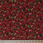Cotton Strawberries Strawberry Fresh Fruits Food Gardening Flowers Blossoms Floral Summer Farmer John's Garden Market Cotton Fabric Print by the Yard (120-5431)