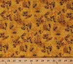 Cotton Bees and Honey Insects Honeycomb Cotton Fabric Print by the Yard 510 Honey