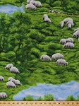 Cotton In the Meadow Sheep Landscape Animals Cotton Fabric Print by the Yard 4100EQ- 61322-6