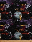 Cotton Planets Galaxy Stars Galaxies Outer Space Astronomy Cosmic Space Black Cotton Fabric Print by the Yard (8454-099-Black)