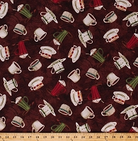 Cotton Coffee Mugs Cups Hot Drinks Beverages Cafe Brown International Coffee Cotton Fabric Print by the Yard (43259-1)