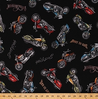 Cotton Motorcycles Motorcycle Bikes Vehicles Transportation Born To Ride Black Cotton Fabric Print by the Yard (ATO-14608-2BLACK)