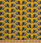 Cotton Rumble Decorated Elephants Jewelry Animals Pachyderm Yellow Cotton Fabric Print by the Yard (40756-1)
