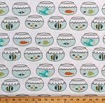 Cotton Fish Fishbowls Fish Bowls on White Swimming in Circles Cotton Fabric Print by the Yard (CX7456-SEAX-D)