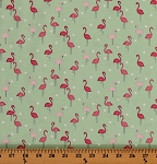 Cotton Flamingos Flamingo Birds Animals on Mint Green Nature Tropical Cotton Fabric Print by the Yard (STELLA-865-PARADISE)