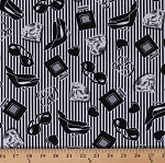 Cotton Hearts Diamonds Shoes High Heels Retro Stripes Fashion Smooches Glam Black and White Vintage Cotton Fabric Print by the Yard (05269-12)