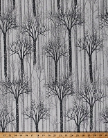 Cotton Trees Woods Forest Winter Nature Gray Silver Metallic Shimmer Landscape Cotton Fabric Print by the Yard (Q7650-3S-White/Silver)