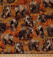Cotton Brown Bears Grizzly Bears Grizzlies Animals Wildlife Fall Autumn The Great North Wilderness Northwoods Cotton Fabric Print by the Yard (04982-88)