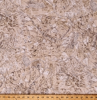 Cotton France City Streets Maps Diagrams Plans Cartography Vintage Blueprints Digital Print Ivory Cotton Fabric Print by the Yard (ATR-16930-15IVORY)