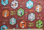 Cotton Dogs Puppies Hexagons Frames Words Phrases Sayings Breeds Dachshunds Pets Animals Kids Puppy Love Brown Cotton Fabric by the Yard (1649-23139-a)