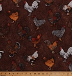 Cotton Chickens Roosters Hens Barnyard Fowl Birds Farm Animals Country Brown Cotton Fabric Print by the Yard (ALX-13004-276country)