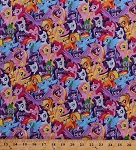 My Little Pony Ponies Fluttershy Pinkie Pie Twilight Sparkle Rarity Rainbow Dash Applejack Princess Cadance Unicorns Spike Dragon Kids Girls Packed Pony Magic Cotton Fabric Print BTY (64386-a620715)