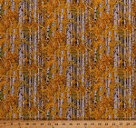 Cotton Birch Trees Woods Forest Fall Autumn Colors Golden Yellow Leaf Leaves Woodlands Landscape Medley Gold Autumnal Cotton Fabric Print by the Yard (491-GOLD)