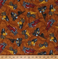 Cotton Tonka Trucks Construction Vehicles Cranes Dump Trucks Road Work Kids Cotton Fabric Print by the Yard (1649-24049-A)