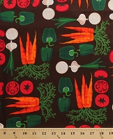 Cotton Metro Market Vegetables Fresh Carrots Tomatoes Onions Peppers Brown Cotton Fabric Print by the Yard (6084g-10k)