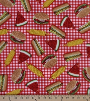 Cotton Picnic Foods Hot Dogs Hamburgers Watermelons Corn Summer Picnic Blanket Kiss the Cook Cotton Fabric Print by the Yard (AMK-15194-3-red)