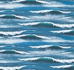 Cotton Landscape Medley Ocean Waves Whitecaps Water Blue Cotton Fabric Print by the Yard (297-blue)