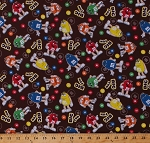Cotton M&M's M & M Chocolates Candies Candy Characters Big Fun Toss Brown Cotton Fabric Print by the Yard (46165-2160715)