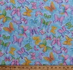 Cotton Butterfly Butterflies Insects Bugs Spring Kids Girls Blue Glitter Sparkle Cotton Fabric Print by the Yard (9449-133)