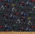 Cotton Motorcycles Vintage Motorbikes Bikes Bikers Vehicles Transportation Open Road Gray Cotton Fabric Print by the Yard (4121EQ-60538-85)