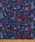 Cotton Construction Zone Dump Trucks Cranes Skyscrapers Building Town Bulldozer Cotton Fabric Print by the Yard (FUN-C9683)
