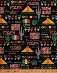 Cotton Cinco de Mayo Viva la Mexico Cactus Pyramids Spanish Southwestern Party Celebrate Black Cotton Fabric Print (06525-12)