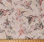 Cotton Batik Hummingbirds Birds Nature Pink Cream Summer Cotton Fabric Print by the Yard (Q2149-339-SUMMER)