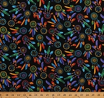 Cotton Dreamcatchers Dream Catchers Bright Multi-Colored Feathers Native American Southwestern Southwest Black Cotton Fabric Print by the Yard (WEST-C5159-BRITE)